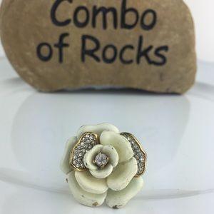 Juicy Couture Rhinestone White Rose Flower Ring